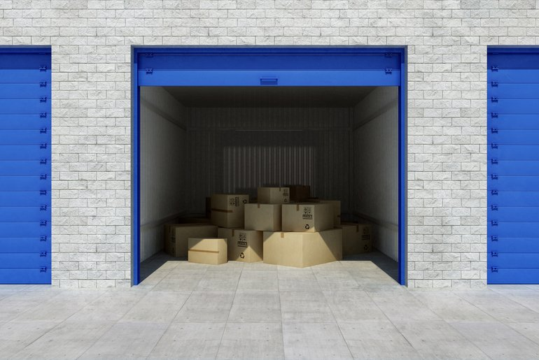boxes in a storage unit