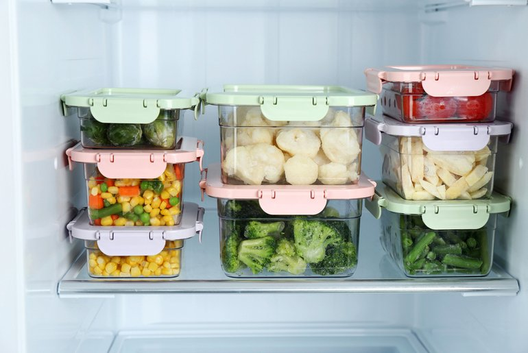 glass containers in a fridge