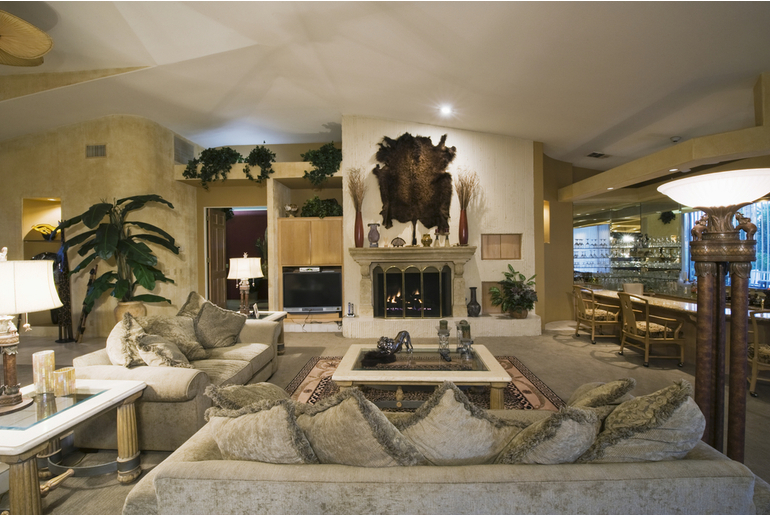 Living room decorated in shades of gold